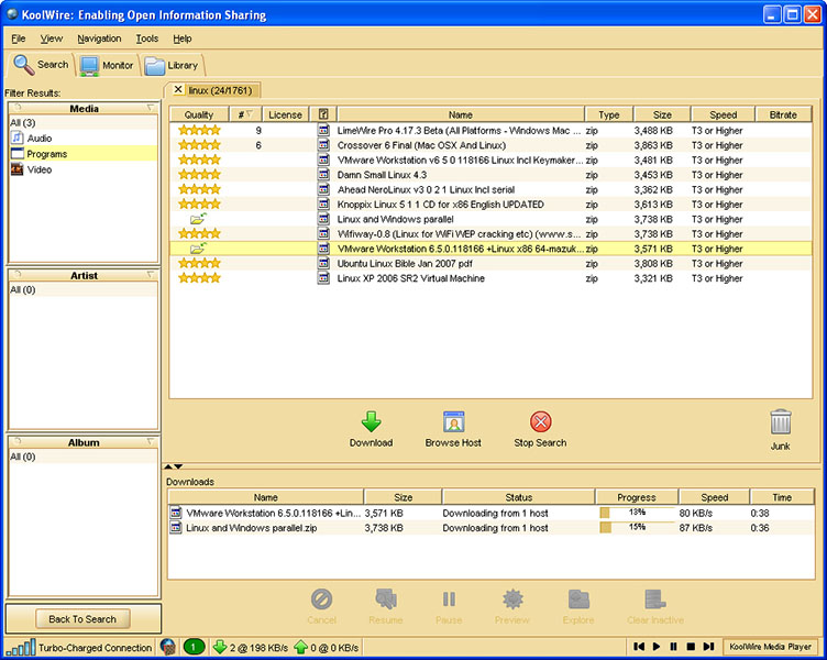 KoolWire P2P Screen shot